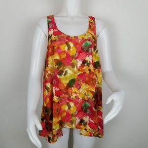 BB Dakota M Bloom Red Sleeveless Flowy Blouse